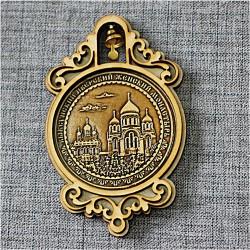 """Магнит из бересты круг с колоколом""""Выксунский Иверский женский монастырь"""". Выкса"""