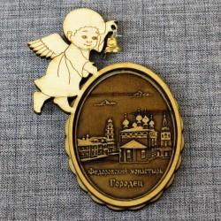 """Магнит из бересты ангел с колокольчиком """"Федоровский монастырь"""""""