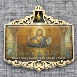 """Магнит из смолы прямоугольный с колокольчиком """"Иисус. Храм Покрова Пресвятой Богородицы в Ясеневе"""" Москва"""