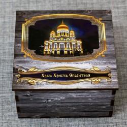 """Шкатулка из дерева """"ХХС"""" (ночной вид) Москва"""