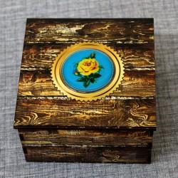 """Шкатулка из дерева со смолой """"Желтая роза"""""""