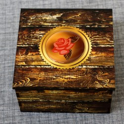 """Шкатулка из дерева со смолой """"Красная роза"""""""