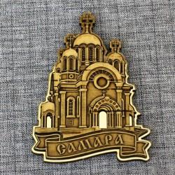 """Магнит из бересты резной с золотом """"Храм"""""""