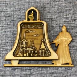 """Магнит из бересты монашка с колоколом """"Спао-Преображенский Воротынский монастырь"""""""