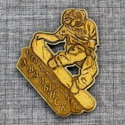 """Магнит из бересты c золотом резной """"Сноубордист"""" Хвалынский горнолыжный курорт"""