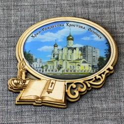 """Магнит из смолы овал книга+свеча """"Храм Рождества Христова"""" Обнинск"""