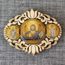 """Триптих овал. """"Водителя"""" (3 иконы) """"Храм Покрова Пресвятой Богородицы в Ясеневе"""""""