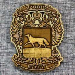 """Магнит из бересты резной с золотом """"Герб-орел"""" Сургут"""