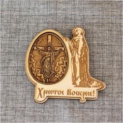 """Магнит из бересты яйцо Христос Воскресе """"Иисус на распятии"""""""