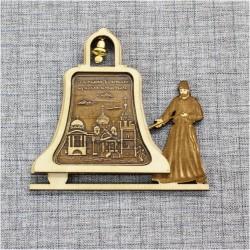 """Магнит из бересты монах с колоколом """"Старицкий Успенский мужской монастырь"""" Тверь"""