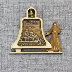 """Магнит из бересты монах с колоколом """"Нилова пустынь"""""""