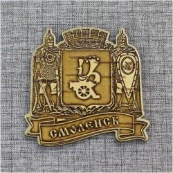 """Магнит из бересты резной с золотом богатыри """"Герб"""" Смоленская область"""