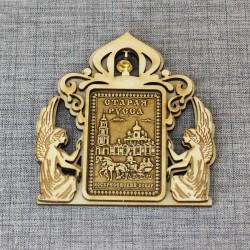 """Магнит из бересты прямоугольный ангелы с колокольчиком """"Воскресенский собор"""""""