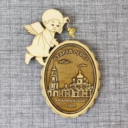 """Магнит из бересты ангел с колокольчиком """"Воскресенский собор"""""""