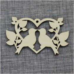 Голуби в сердце с листочками (5шт)