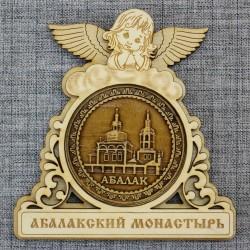 "Магнит из бересты круглый ангел ""Абалакский монастырь"""