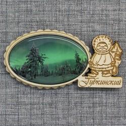 """Магнит из смолы овал эскимос """"Лес при северном сиянии"""" Губкинский"""