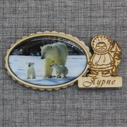 """Магнит из смолы овал эскимос """"Медведи"""" Пурпе"""