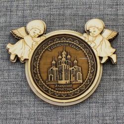 "Магнит из бересты ангелы ""Успенский собор.Ачаирский монастырь"""