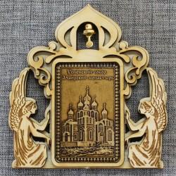 """Магнит из бересты прямоугольный ангелы с колокольчиком """"Успенский собор.Ачаи"""
