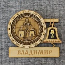 """Магнит из бересты с колоколом """"Золотые ворота"""" . Владимир"""