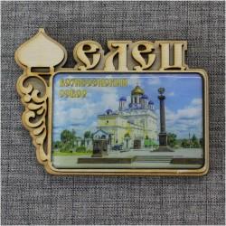 """Магнит из смолы прям. с куполом  """"Вознесенский собор"""" Елец"""