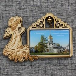 """Магнит из смолы прямоугольный ангел с колокольчиком """"Саввино-Строжевский монастырь"""" Звенигород"""