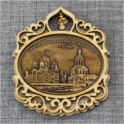 """Магнит из бересты овал горизонтальный с колокольчиком  """"Свято-Боголюбский монастырь"""" п.Боголюбово"""