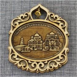 """Магнит из бересты овал горизонтальный с колокольчиком """"Три собора"""" Дивеевский монастырь"""