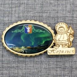 """Магнит из смолы овал эскимос""""Северное сияние+герб""""Норильск"""
