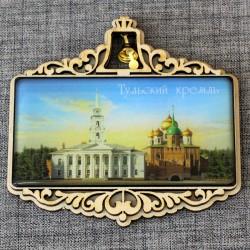"""Магнит из смолы прямоугольный с колокольчиком """"Тульский кремль"""" Тула"""