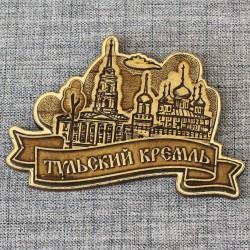 """Магнит из бересты резной с золотом """"Барельеф. Тульский кремль"""""""
