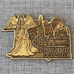 """Магнит из бересты резной с золотом """"Ангел. Тульский кремль"""""""