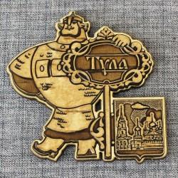 """Магнит из бересты резной с золотом """"Богатырь.Ключ. Тульский кремль"""""""