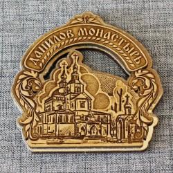 """Магнит из бересты резной c золотом арка """"Данилов монастырь"""