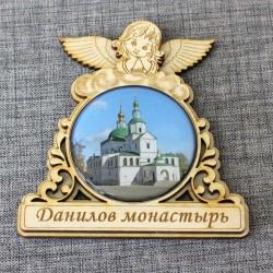 """Магнит из смолы круглый ангел """"Данилов монастырь"""""""