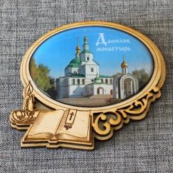 """Магнит из смолы овал книга+свеча """"Данилов монастырь"""""""