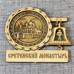 """Магнит из бересты с колоколом """"Сретенский монастырь"""""""