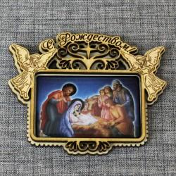 """Магнит со смолой прям.с ангелами """"С Рождеством"""" 2вид"""
