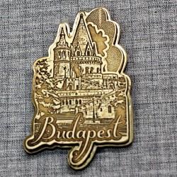 """Магнит из бересты резной с золотом """"Бастион"""" Будапешт"""
