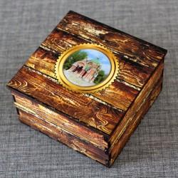 """Шкатулка из дерева со смолой """"Часовня Петра и Павла"""" Липецк"""
