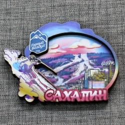 """Магнит цветной """"Лыжник""""Горный воздух Вид1. Сахалин"""