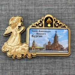 """Магнит из смолы прямоугольный ангел с колокольчиком """"Собор А.Невского"""""""