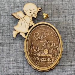 """Магнит из бересты ангел с колокольчиком""""Кремль"""""""