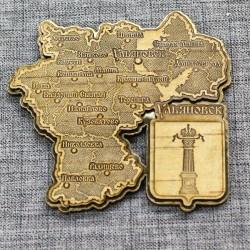 """Магнит из бересты резной c золотом """"Карта"""" Ульяновск"""