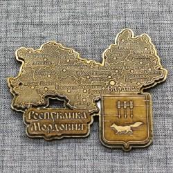 """Магнит из бересты резной c золотом  """"Карта"""" Саранск"""