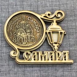 """Магнит из бересты круг.фонарь """"Храм Г. Победоносца"""" Самара"""