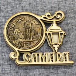 """Магнит из бересты круг.фонарь """"ЖД вокзал"""" Самара"""