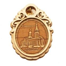 """Магнит  из бересты овал с колокольчиком  """"Храм Св.Николая Мирликийско"""