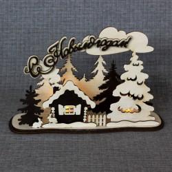 """Новогоднее украшение под светодиодные свечи """"Домик в лесу"""""""
